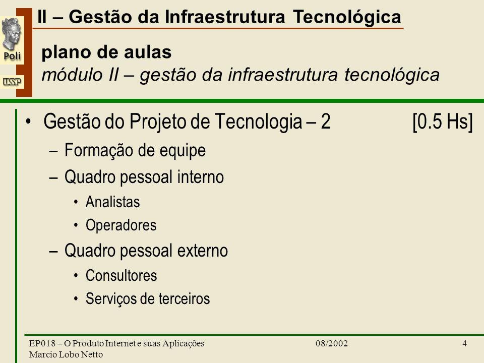 II – Gestão da Infraestrutura Tecnológica 08/2002EP018 – O Produto Internet e suas Aplicações Marcio Lobo Netto 4 plano de aulas módulo II – gestão da