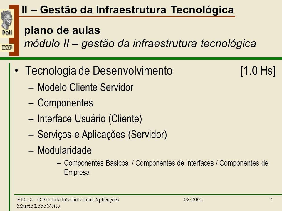 II – Gestão da Infraestrutura Tecnológica 08/2002EP018 – O Produto Internet e suas Aplicações Marcio Lobo Netto 7 plano de aulas módulo II – gestão da infraestrutura tecnológica Tecnologia de Desenvolvimento [1.0 Hs] –Modelo Cliente Servidor –Componentes –Interface Usuário (Cliente) –Serviços e Aplicações (Servidor) –Modularidade –Componentes Básicos / Componentes de Interfaces / Componentes de Empresa