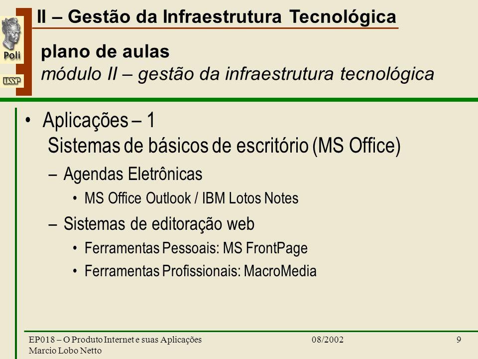 II – Gestão da Infraestrutura Tecnológica 08/2002EP018 – O Produto Internet e suas Aplicações Marcio Lobo Netto 9 plano de aulas módulo II – gestão da infraestrutura tecnológica Aplicações – 1 Sistemas de básicos de escritório (MS Office) –Agendas Eletrônicas MS Office Outlook / IBM Lotos Notes –Sistemas de editoração web Ferramentas Pessoais: MS FrontPage Ferramentas Profissionais: MacroMedia