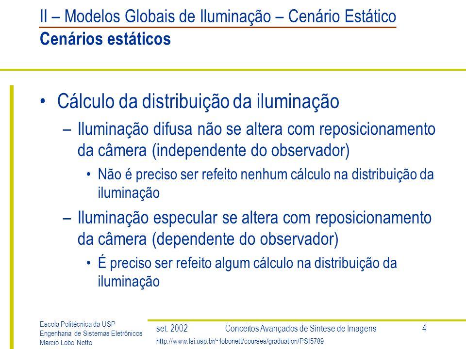 II – Modelos Globais de Iluminação – Cenário Estático Escola Politécnica da USP Engenharia de Sistemas Eletrônicos Marcio Lobo Netto http://www.lsi.usp.br/~lobonett/courses/graduation/PSI5789 set.