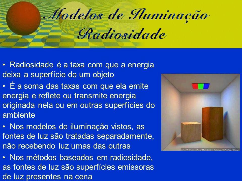 Radiosidade é a taxa com que a energia deixa a superfície de um objeto É a soma das taxas com que ela emite energia e reflete ou transmite energia ori