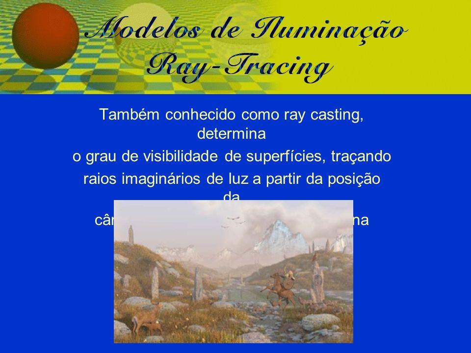 Também conhecido como ray casting, determina o grau de visibilidade de superfícies, traçando raios imaginários de luz a partir da posição da câmera (viewer) até os objetos da cena