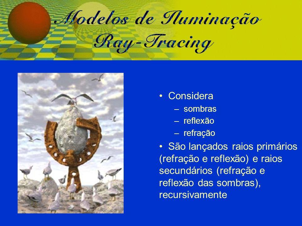 Considera – sombras – reflexão – refração São lançados raios primários (refração e reflexão) e raios secundários (refração e reflexão das sombras), re
