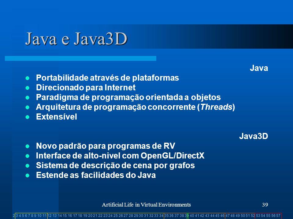 2 3 4 5 6 7 8 9 10 11 12 13 14 15 16 17 18 19 20 21 22 23 24 25 26 27 28 29 30 31 32 33 34 35 36 37 38 39 40 41 42 43 44 45 46 47 48 49 50 51 52 53 54 55 56 57 Artificial Life in Virtual Environments39 Java e Java3D Java Portabilidade através de plataformas Direcionado para Internet Paradigma de programação orientada a objetos Arquitetura de programação concorrente (Threads) Extensível Java3D Novo padrão para programas de RV Interface de alto-nivel com OpenGL/DirectX Sistema de descrição de cena por grafos Estende as facilidades do Java