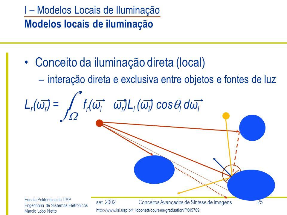 I – Modelos Locais de Iluminação Escola Politécnica da USP Engenharia de Sistemas Eletrônicos Marcio Lobo Netto http://www.lsi.usp.br/~lobonett/courses/graduation/PSI5789 set.