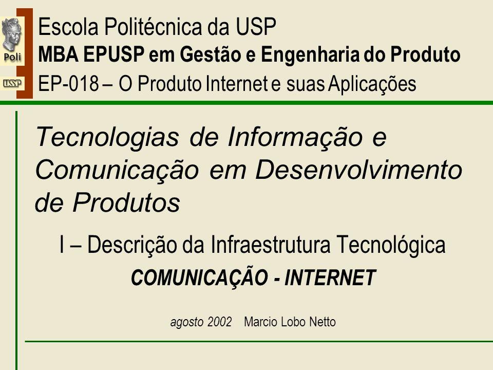 I – Comunicação - Internet Escola Politécnica da USP MBA EPUSP em Gestão e Engenharia do Produto EP-018 – O Produto Internet e suas Aplicações Tecnolo