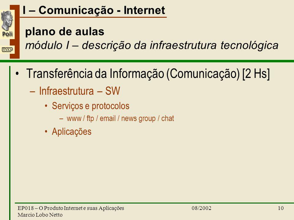 I – Comunicação - Internet 08/2002EP018 – O Produto Internet e suas Aplicações Marcio Lobo Netto 10 plano de aulas módulo I – descrição da infraestrut