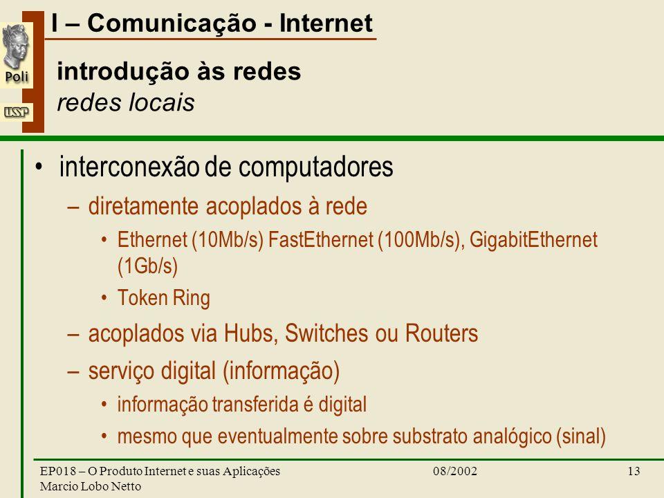 I – Comunicação - Internet 08/2002EP018 – O Produto Internet e suas Aplicações Marcio Lobo Netto 13 introdução às redes redes locais interconexão de c