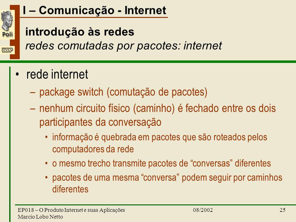 I – Comunicação - Internet 08/2002EP018 – O Produto Internet e suas Aplicações Marcio Lobo Netto 25 introdução às redes redes comutadas por pacotes: i