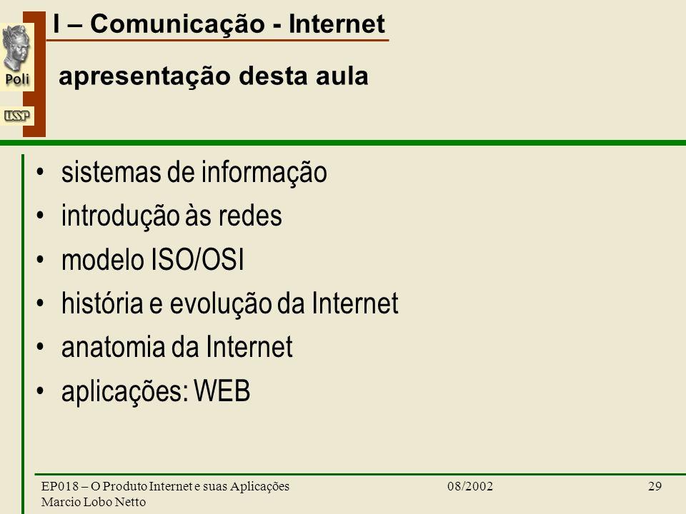I – Comunicação - Internet 08/2002EP018 – O Produto Internet e suas Aplicações Marcio Lobo Netto 29 apresentação desta aula sistemas de informação int