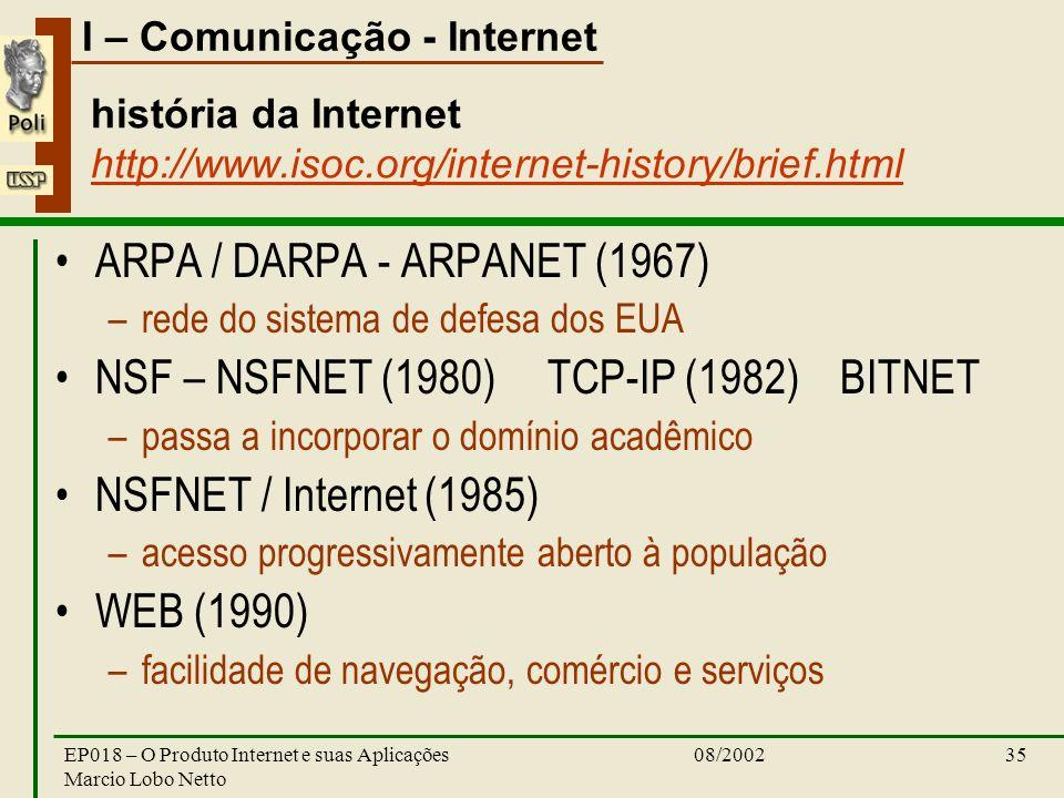 I – Comunicação - Internet 08/2002EP018 – O Produto Internet e suas Aplicações Marcio Lobo Netto 35 história da Internet http://www.isoc.org/internet-