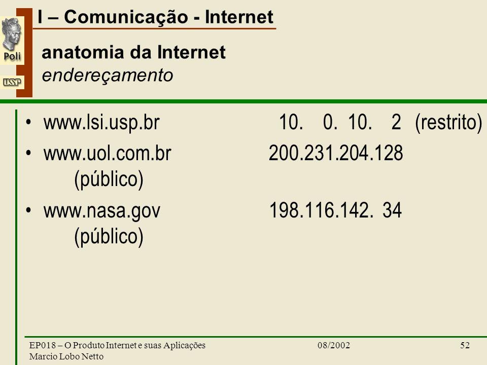 I – Comunicação - Internet 08/2002EP018 – O Produto Internet e suas Aplicações Marcio Lobo Netto 52 anatomia da Internet endereçamento www.lsi.usp.br