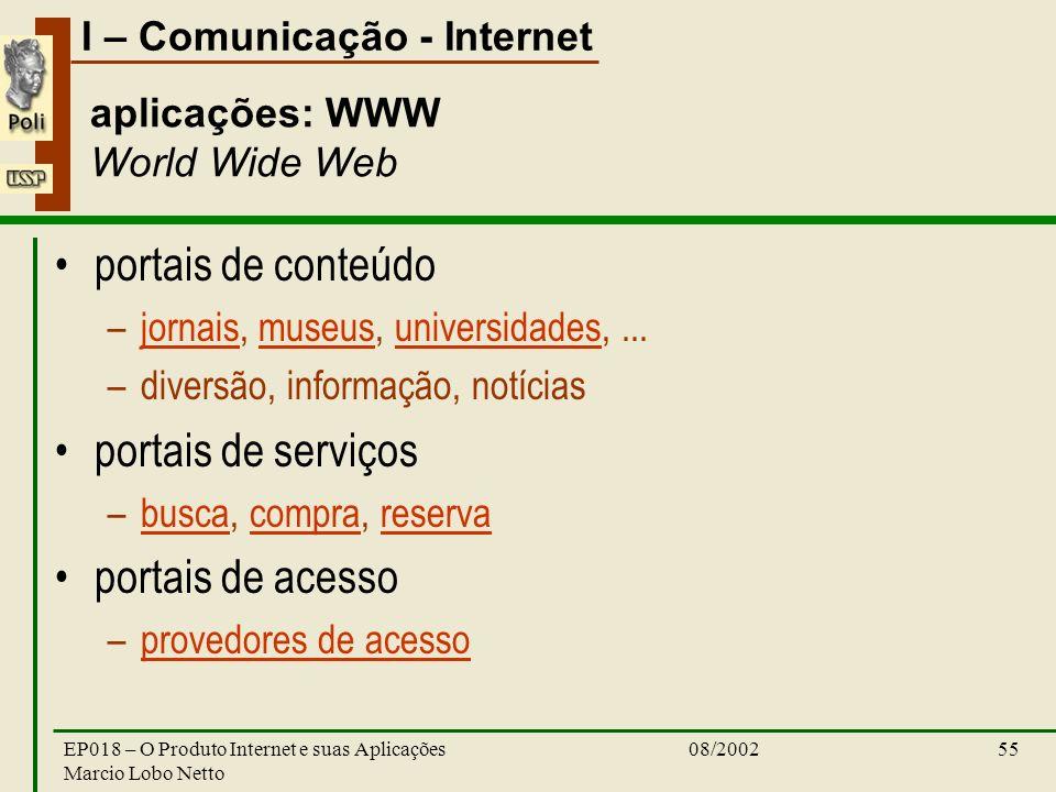 I – Comunicação - Internet 08/2002EP018 – O Produto Internet e suas Aplicações Marcio Lobo Netto 55 aplicações: WWW World Wide Web portais de conteúdo