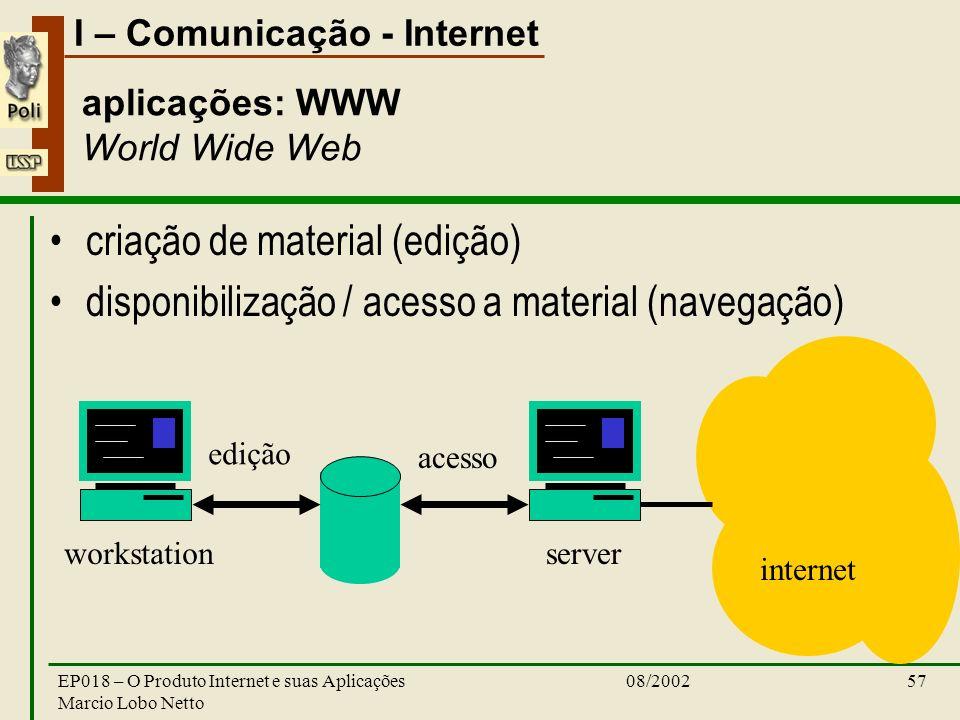 I – Comunicação - Internet 08/2002EP018 – O Produto Internet e suas Aplicações Marcio Lobo Netto 57 aplicações: WWW World Wide Web criação de material