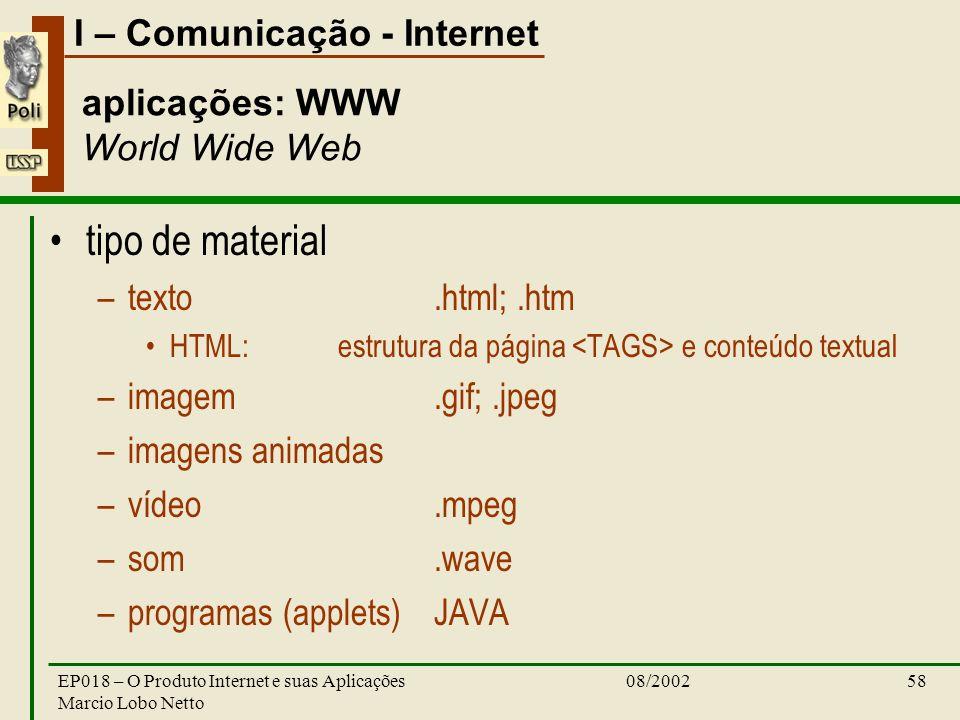 I – Comunicação - Internet 08/2002EP018 – O Produto Internet e suas Aplicações Marcio Lobo Netto 58 aplicações: WWW World Wide Web tipo de material –t