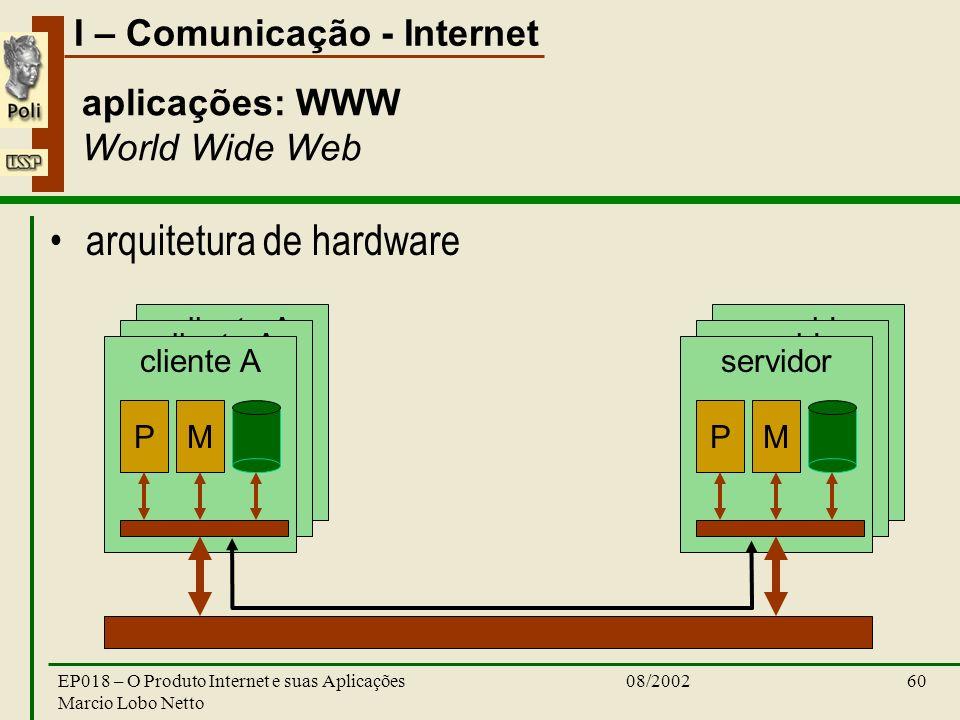 I – Comunicação - Internet 08/2002EP018 – O Produto Internet e suas Aplicações Marcio Lobo Netto 60 servidor cliente A aplicações: WWW World Wide Web