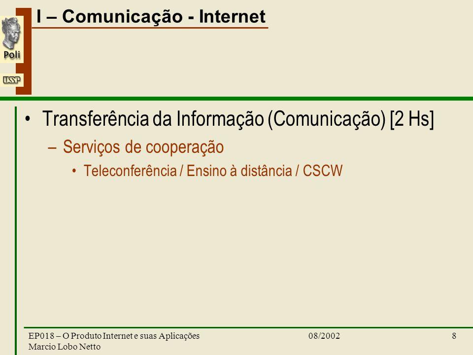 I – Comunicação - Internet 08/2002EP018 – O Produto Internet e suas Aplicações Marcio Lobo Netto 8 Transferência da Informação (Comunicação) [2 Hs] –S