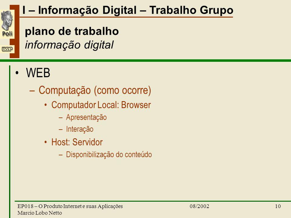 I – Informação Digital – Trabalho Grupo 08/2002EP018 – O Produto Internet e suas Aplicações Marcio Lobo Netto 10 plano de trabalho informação digital