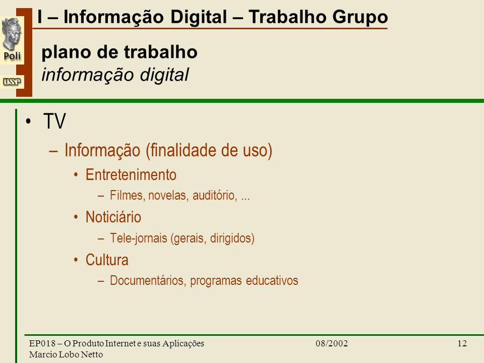 I – Informação Digital – Trabalho Grupo 08/2002EP018 – O Produto Internet e suas Aplicações Marcio Lobo Netto 12 plano de trabalho informação digital