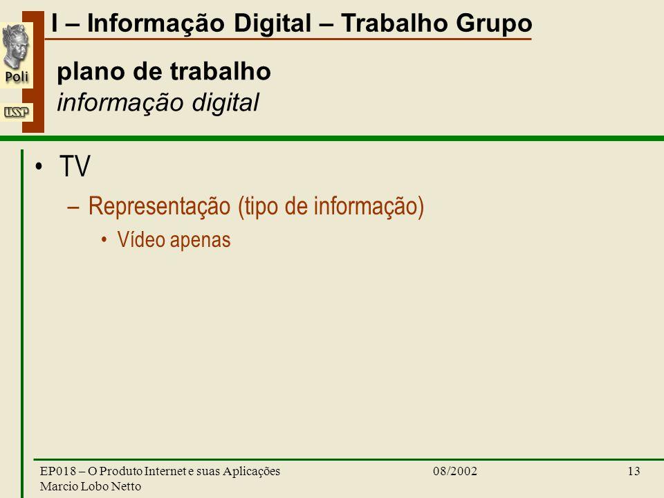 I – Informação Digital – Trabalho Grupo 08/2002EP018 – O Produto Internet e suas Aplicações Marcio Lobo Netto 13 plano de trabalho informação digital TV –Representação (tipo de informação) Vídeo apenas