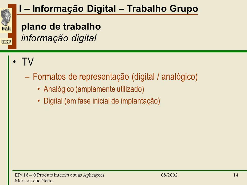 I – Informação Digital – Trabalho Grupo 08/2002EP018 – O Produto Internet e suas Aplicações Marcio Lobo Netto 14 plano de trabalho informação digital
