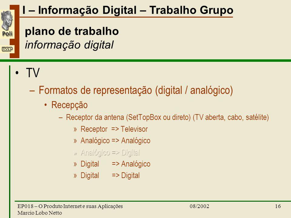 I – Informação Digital – Trabalho Grupo 08/2002EP018 – O Produto Internet e suas Aplicações Marcio Lobo Netto 16 plano de trabalho informação digital