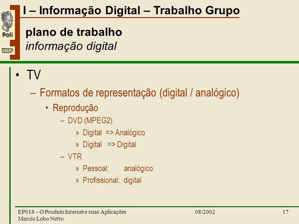 I – Informação Digital – Trabalho Grupo 08/2002EP018 – O Produto Internet e suas Aplicações Marcio Lobo Netto 17 plano de trabalho informação digital