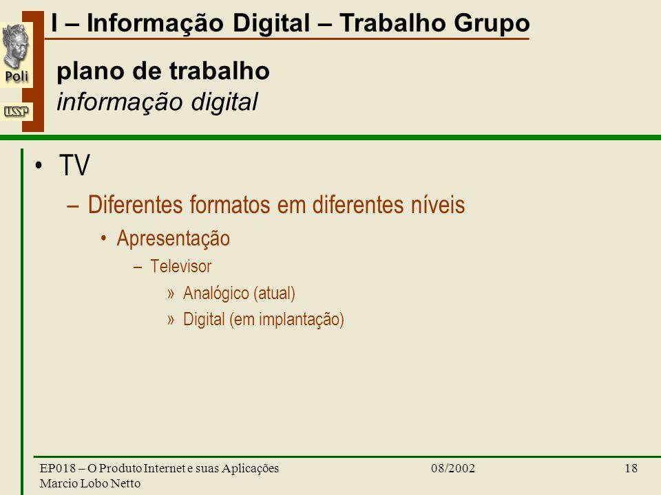 I – Informação Digital – Trabalho Grupo 08/2002EP018 – O Produto Internet e suas Aplicações Marcio Lobo Netto 18 plano de trabalho informação digital