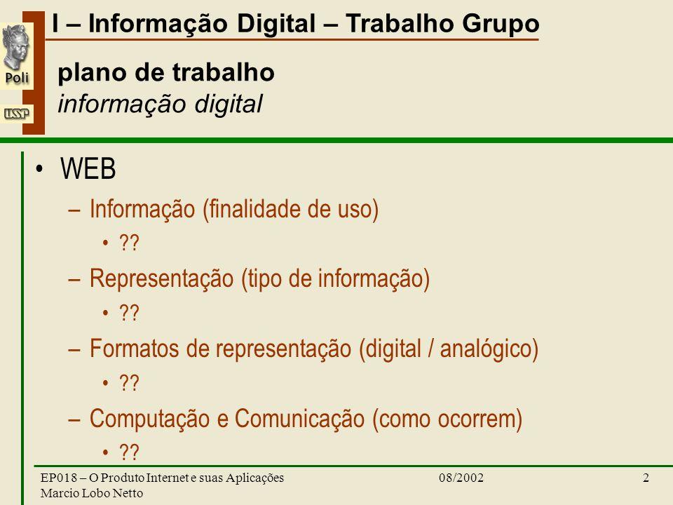 I – Informação Digital – Trabalho Grupo 08/2002EP018 – O Produto Internet e suas Aplicações Marcio Lobo Netto 2 plano de trabalho informação digital WEB –Informação (finalidade de uso) .