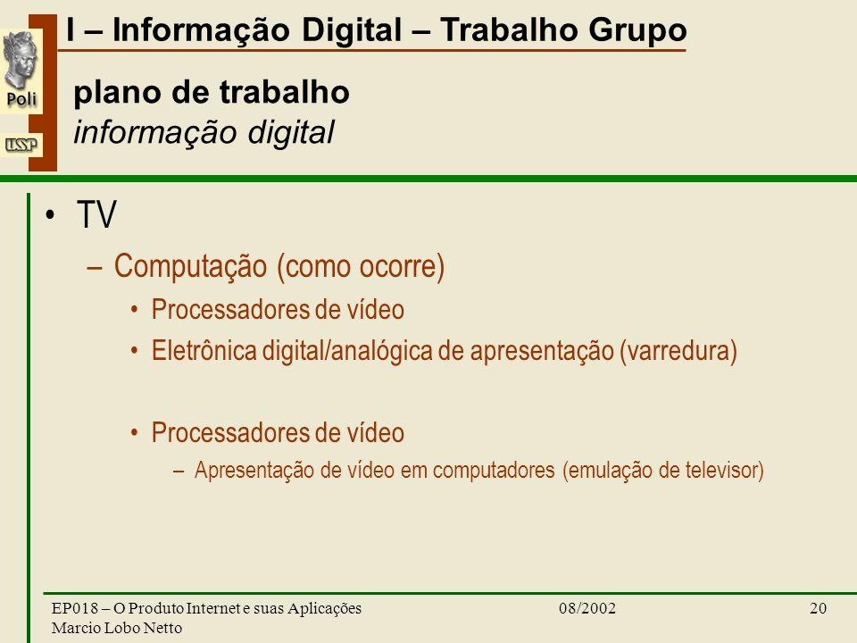 I – Informação Digital – Trabalho Grupo 08/2002EP018 – O Produto Internet e suas Aplicações Marcio Lobo Netto 20 plano de trabalho informação digital