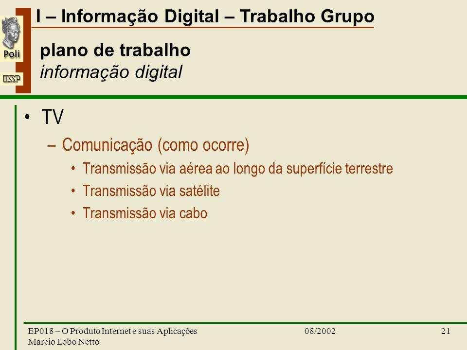 I – Informação Digital – Trabalho Grupo 08/2002EP018 – O Produto Internet e suas Aplicações Marcio Lobo Netto 21 plano de trabalho informação digital