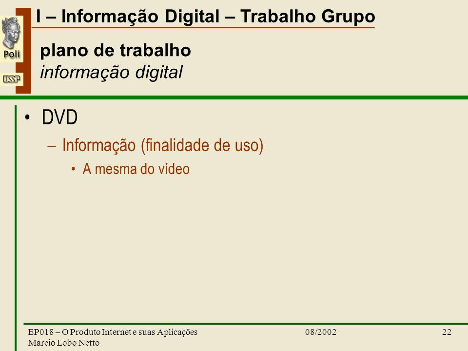 I – Informação Digital – Trabalho Grupo 08/2002EP018 – O Produto Internet e suas Aplicações Marcio Lobo Netto 22 plano de trabalho informação digital DVD –Informação (finalidade de uso) A mesma do vídeo