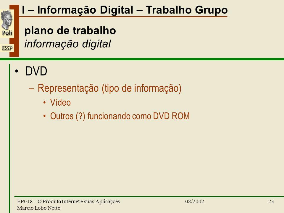 I – Informação Digital – Trabalho Grupo 08/2002EP018 – O Produto Internet e suas Aplicações Marcio Lobo Netto 23 plano de trabalho informação digital DVD –Representação (tipo de informação) Vídeo Outros ( ) funcionando como DVD ROM