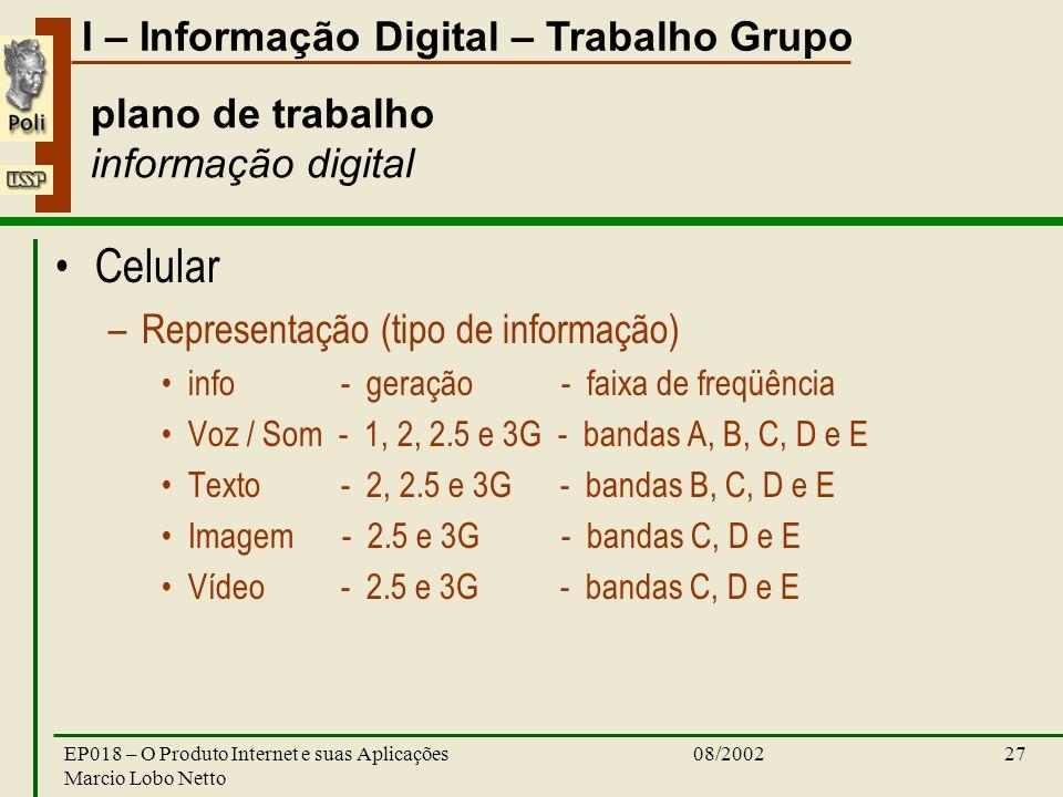 I – Informação Digital – Trabalho Grupo 08/2002EP018 – O Produto Internet e suas Aplicações Marcio Lobo Netto 27 plano de trabalho informação digital Celular –Representação (tipo de informação) info - geração - faixa de freqüência Voz / Som - 1, 2, 2.5 e 3G - bandas A, B, C, D e E Texto - 2, 2.5 e 3G - bandas B, C, D e E Imagem - 2.5 e 3G - bandas C, D e E Vídeo - 2.5 e 3G - bandas C, D e E