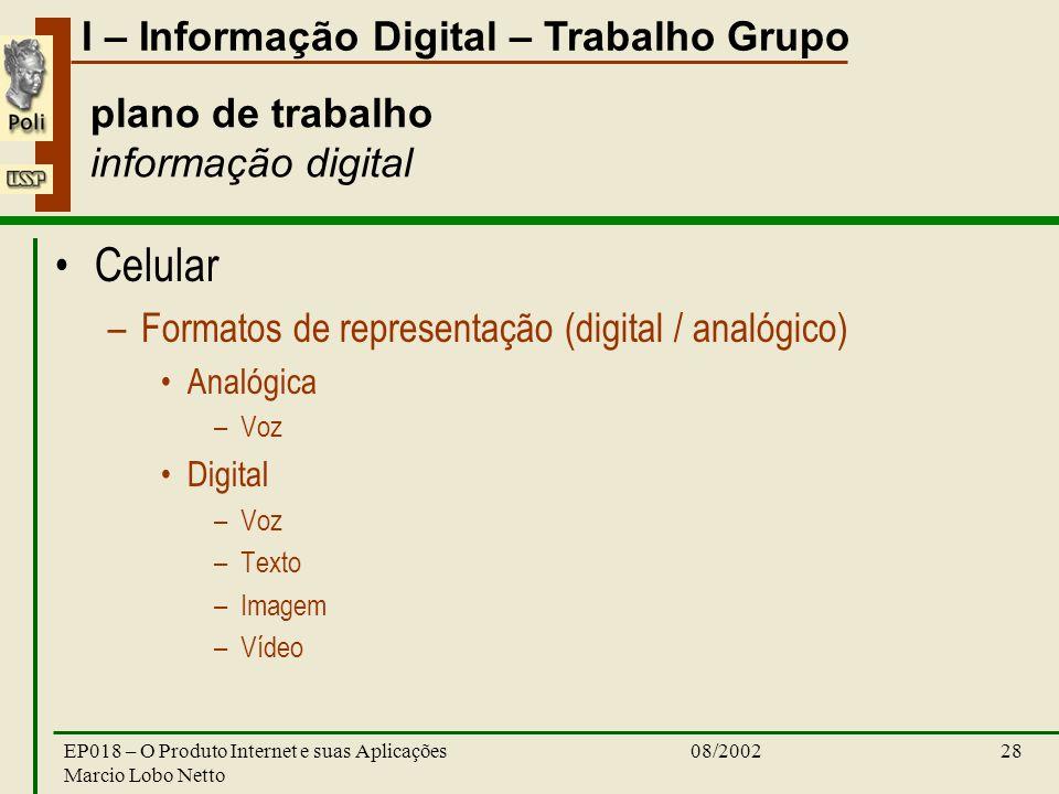 I – Informação Digital – Trabalho Grupo 08/2002EP018 – O Produto Internet e suas Aplicações Marcio Lobo Netto 28 plano de trabalho informação digital