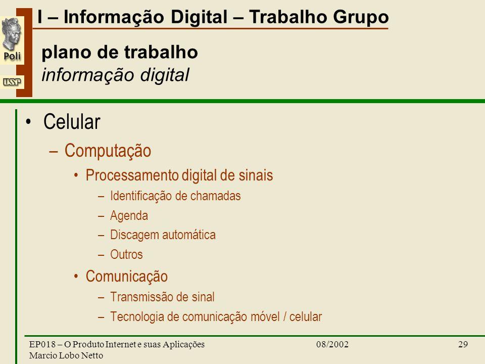 I – Informação Digital – Trabalho Grupo 08/2002EP018 – O Produto Internet e suas Aplicações Marcio Lobo Netto 29 plano de trabalho informação digital