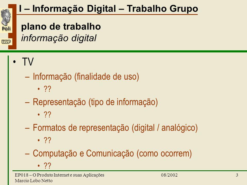 I – Informação Digital – Trabalho Grupo 08/2002EP018 – O Produto Internet e suas Aplicações Marcio Lobo Netto 3 plano de trabalho informação digital TV –Informação (finalidade de uso) .