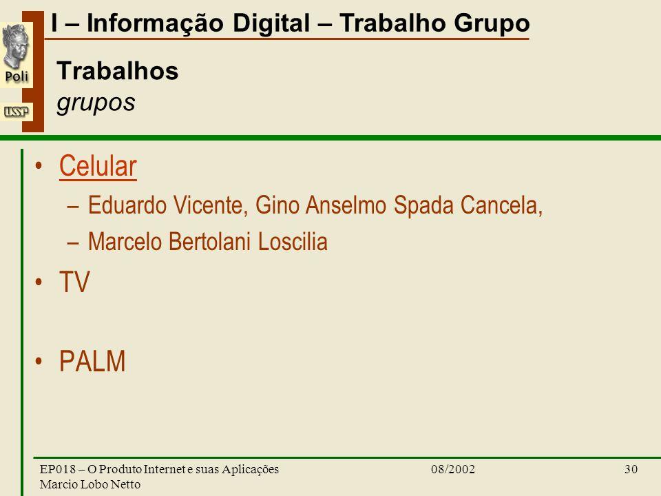 I – Informação Digital – Trabalho Grupo 08/2002EP018 – O Produto Internet e suas Aplicações Marcio Lobo Netto 30 Trabalhos grupos Celular –Eduardo Vic