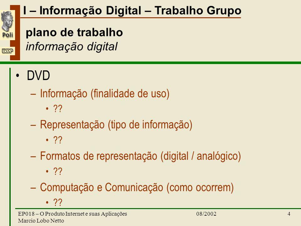 I – Informação Digital – Trabalho Grupo 08/2002EP018 – O Produto Internet e suas Aplicações Marcio Lobo Netto 4 plano de trabalho informação digital DVD –Informação (finalidade de uso) .