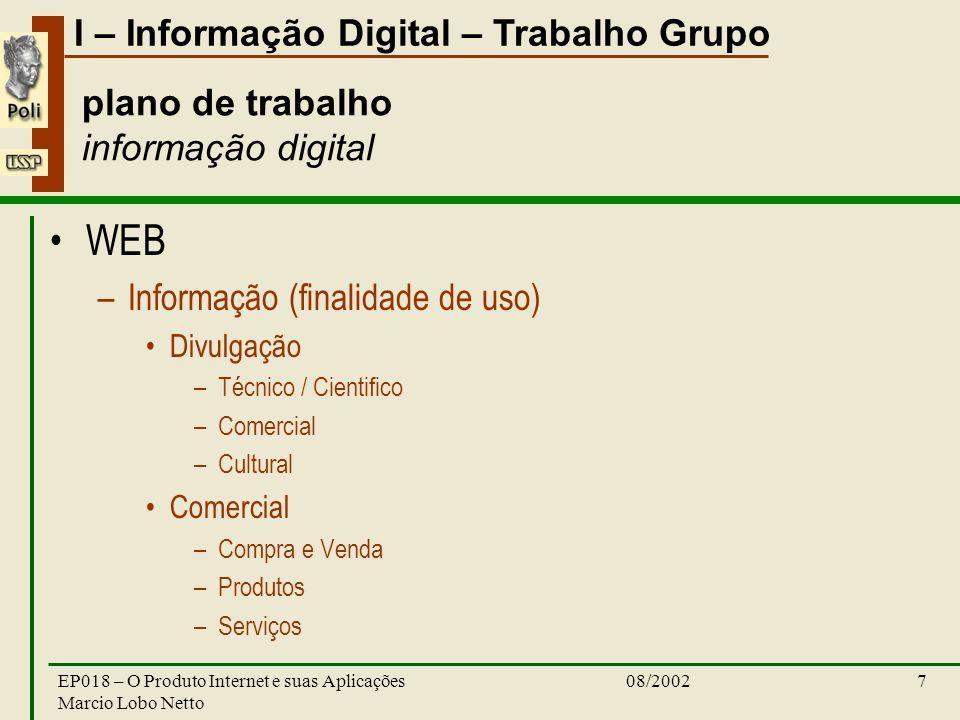 I – Informação Digital – Trabalho Grupo 08/2002EP018 – O Produto Internet e suas Aplicações Marcio Lobo Netto 7 plano de trabalho informação digital W