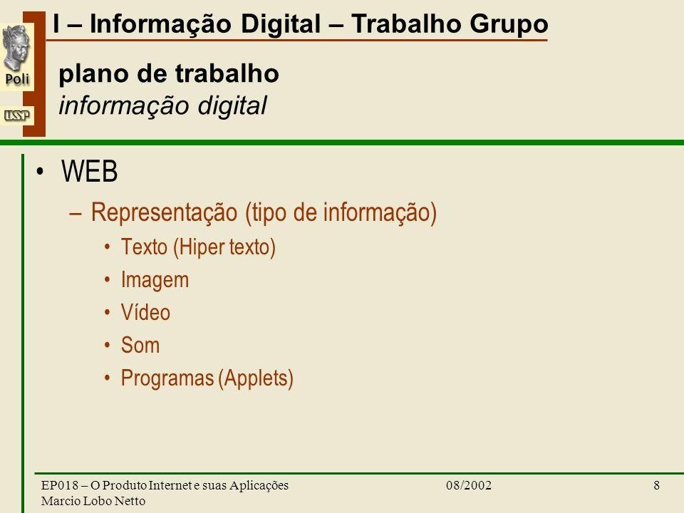 I – Informação Digital – Trabalho Grupo 08/2002EP018 – O Produto Internet e suas Aplicações Marcio Lobo Netto 8 plano de trabalho informação digital W