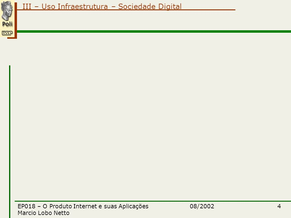 III – Uso Infraestrutura – Sociedade Digital 08/2002EP018 – O Produto Internet e suas Aplicações Marcio Lobo Netto 5 plano de aulas módulo III – uso da infraestrutura tecnológica Edifícios Inteligentes –Controle Acesso (portas, cancelas) e Fluxo (elevadores) Sensores –Reconhecimento de imagens / Biometria / Impressão Digital/Palma / Identificação Pupila –Monitoramento de presença Sistemas de controle de acesso –Controle térmico / energético Economia / otimização da utilização / Ar condicionado