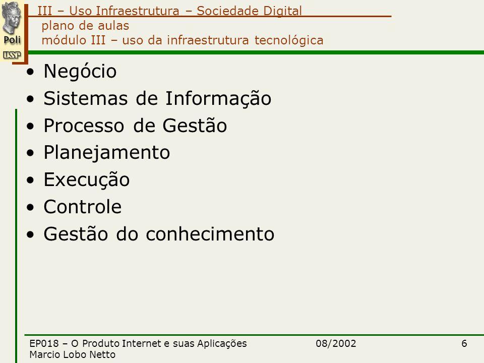 III – Uso Infraestrutura – Sociedade Digital 08/2002EP018 – O Produto Internet e suas Aplicações Marcio Lobo Netto 6 plano de aulas módulo III – uso da infraestrutura tecnológica Negócio Sistemas de Informação Processo de Gestão Planejamento Execução Controle Gestão do conhecimento
