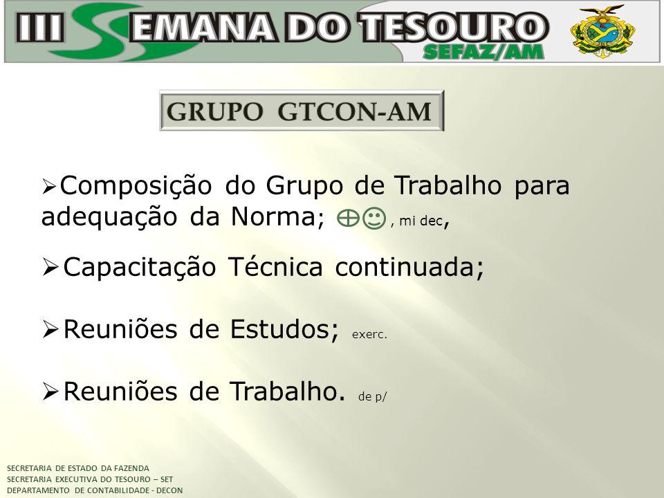 SECRETARIA DE ESTADO DA FAZENDA SECRETARIA EXECUTIVA DO TESOURO – SET DEPARTAMENTO DE CONTABILIDADE - DECON Composição do Grupo de Trabalho para adequ