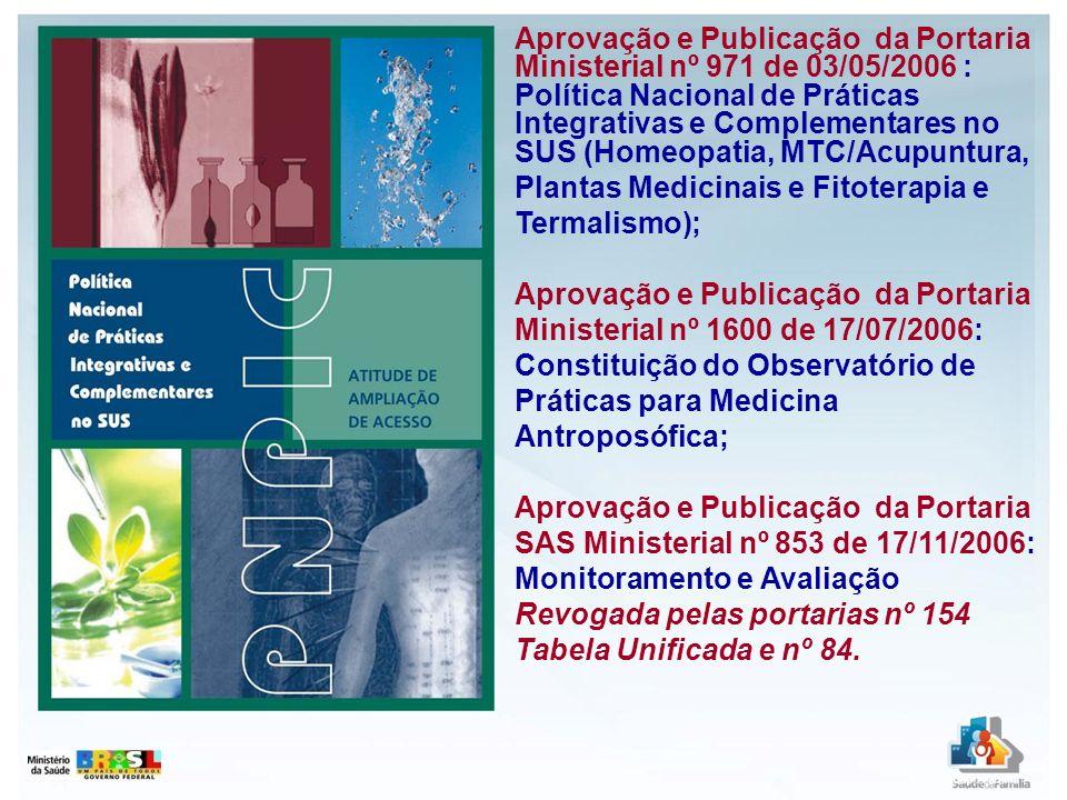 Aprovação e Publicação da Portaria Ministerial nº 971 de 03/05/2006 : Política Nacional de Práticas Integrativas e Complementares no SUS (Homeopatia,