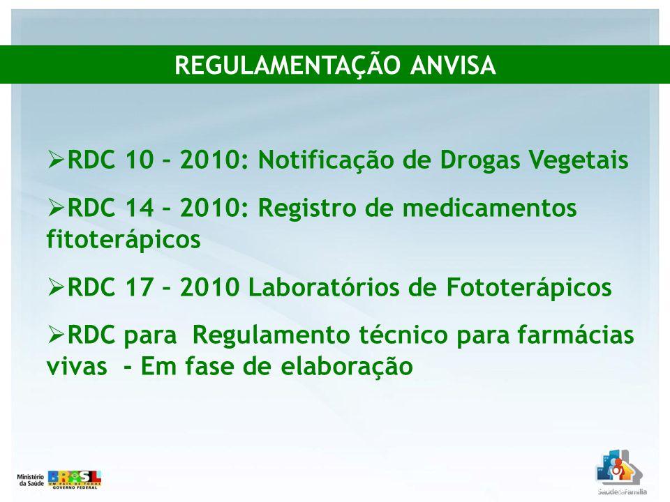 RDC 10 – 2010: Notificação de Drogas Vegetais RDC 14 – 2010: Registro de medicamentos fitoterápicos RDC 17 – 2010 Laboratórios de Fototerápicos RDC pa