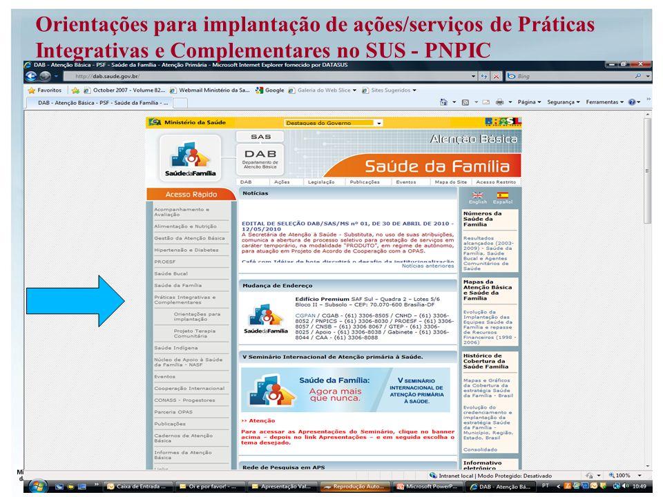 Orientações para implantação de ações/serviços de Práticas Integrativas e Complementares no SUS - PNPIC