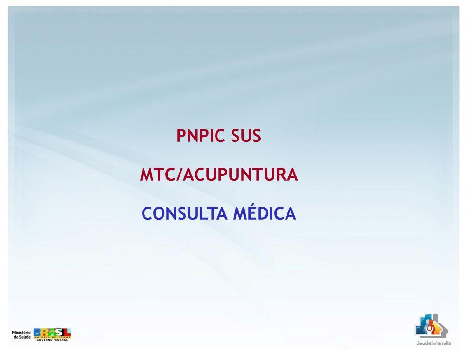 PNPIC SUS MTC/ACUPUNTURA CONSULTA MÉDICA