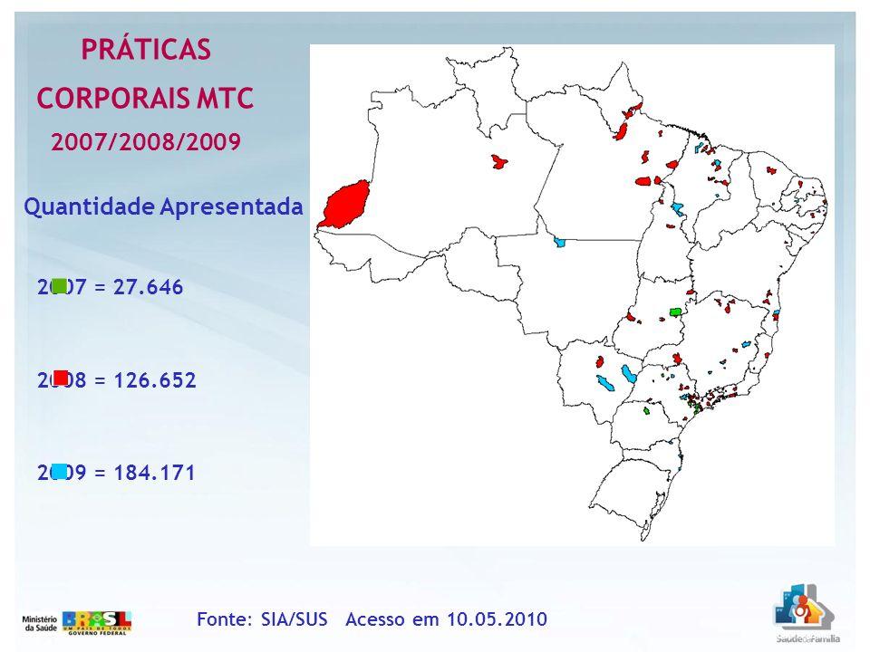 2007 = 27.646 2008 = 126.652 2009 = 184.171 PRÁTICAS CORPORAIS MTC 2007/2008/2009 Fonte: SIA/SUS Acesso em 10.05.2010 Quantidade Apresentada