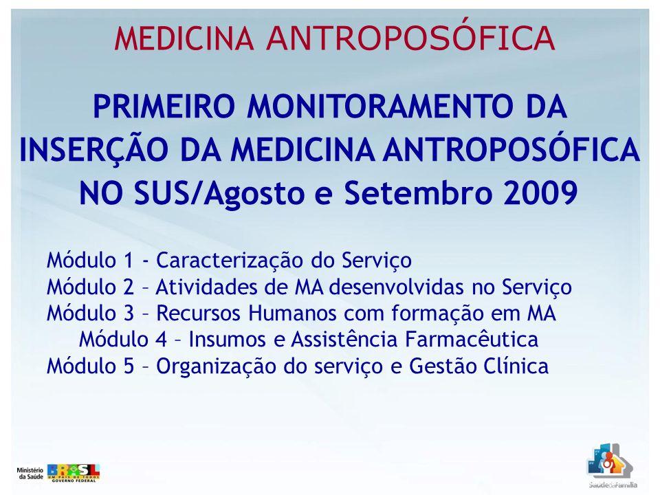PRIMEIRO MONITORAMENTO DA INSERÇÃO DA MEDICINA ANTROPOSÓFICA NO SUS/Agosto e Setembro 2009 Módulo 1 - Caracterização do Serviço Módulo 2 – Atividades